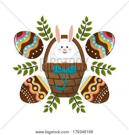 eggs easter with rabbit inside hamper and branches plant , vector illustration