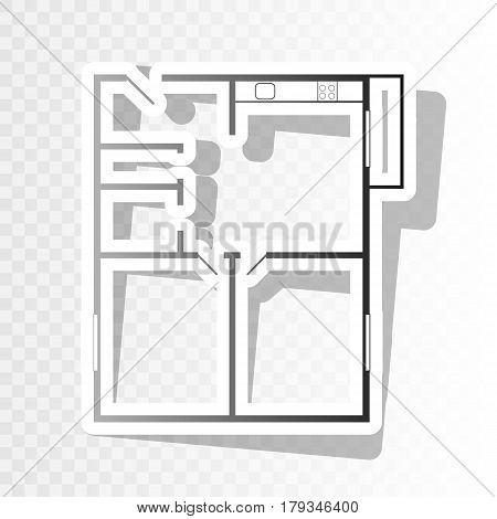 Apartment house floor plans. Vector. New year blackish icon on transparent background with transition.