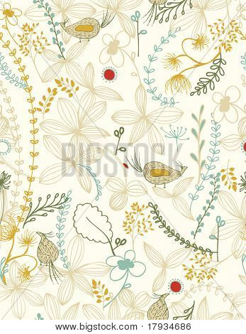 Vector Floral with birds (Seamless Pattern)