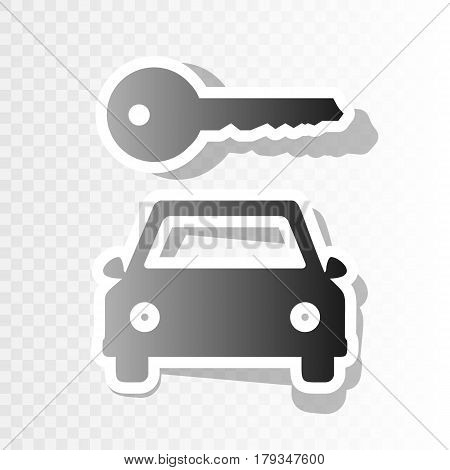 Car key simplistic sign. Vector. New year blackish icon on transparent background with transition.