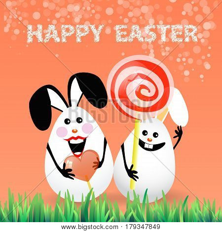 Cute bright easter illustration for your design. Cartoon two funny eggs - rabbits with caramel to eat by ship