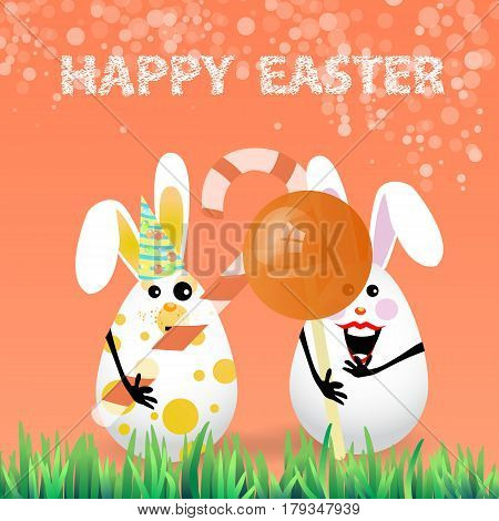 Cute bright easter illustration for your design. Cartoon two funny eggs - rabbits with caramel in a circle shape and a stick curled white - red