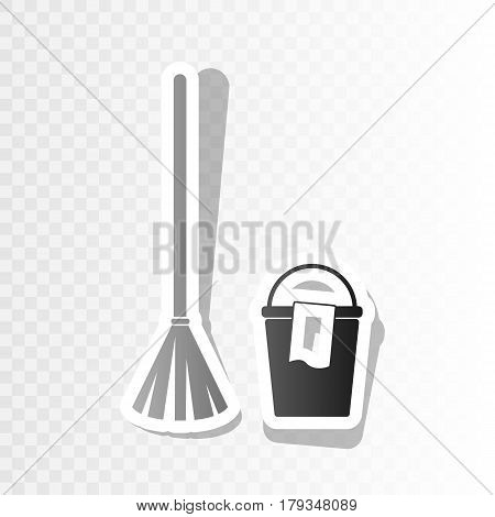 Broom and bucket sign. Vector. New year blackish icon on transparent background with transition.