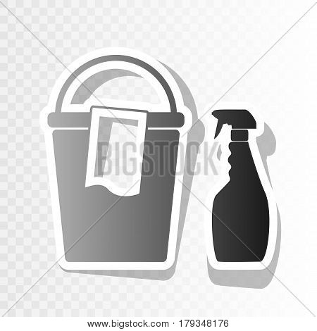 Bucket and a rag with Household chemical bottles. Vector. New year blackish icon on transparent background with transition.