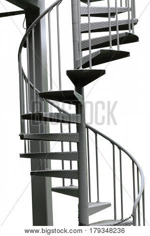 Metal spiral stairways outside isolated on white background