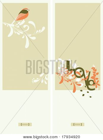 Vector Floral with bird (Graphics Set)