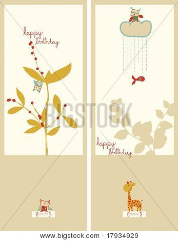 Vector Floral with Owl and Giraffe (Graphics Set)
