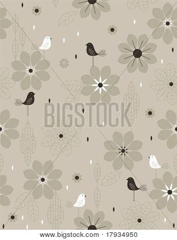 Vector Little Retro Bird (Seamless Pattern)
