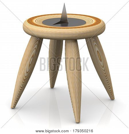Thumbtack lying on a stool. A large and sharp thumbtack lying on a wooden stool. Isolated. 3D Illustration