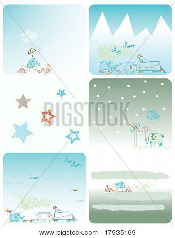 Vector cute elephant traveling by train (Graphics Set)
