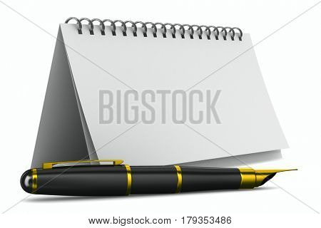 Notebook and pen on white background. Isolated 3D illustration
