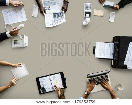 Business People Working Use Laptop Agenda Printer