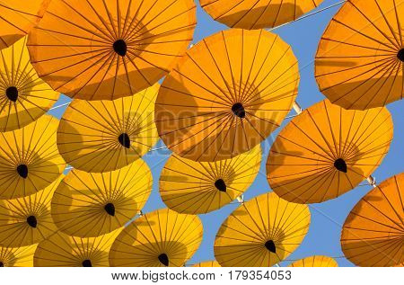 Many Decoration With Hanging Yellow Umbrella Outdoor