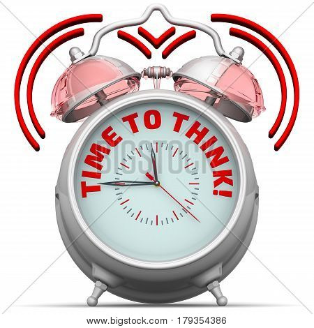 Time to think! The alarm clock with an inscription. Alarm clock with the words