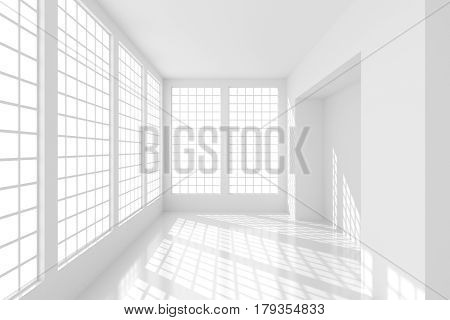Futuristic empty white room with bright sunlight from windows. Minimal interior of the future. 3D rendering.