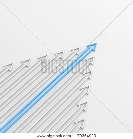 Leadership concept blue leader arrow standing out from the crowd of white arrows on white background. 3D rendering.
