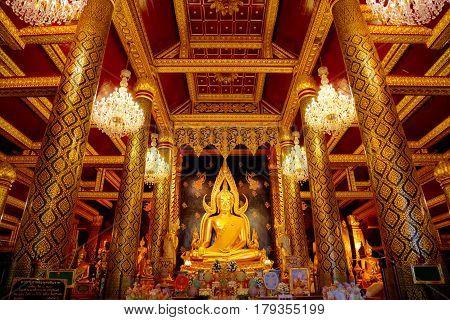 Phitsanulok, Thailand - November 4 2016: Phra Phuttha Chinnarat Buddha Image At Wat Phra Si Rattana
