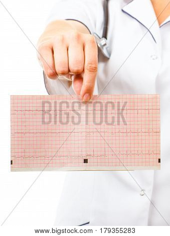 Doctor With Stethoscope Showing Electrocardiogram Graph, Health Care Concept