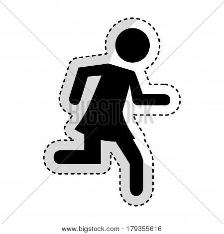 woman running silhouette emblem icon vector illustration design