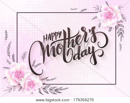 vector mothers day lettering with blooming gardenia flowers and hand lettering phrase - happy mothers day with halftone.