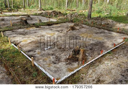 Stage of the archaeological site - removed turf