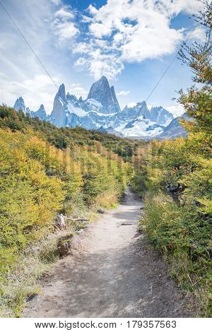 Trail leading to the Laguna de Los Tres at the base of Mount Fitz Roy in Argentina Patagonia