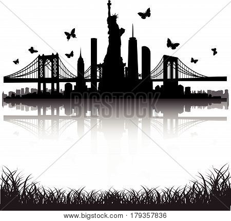 New York City Skyline Statue Of Liberty Butterfly Vector