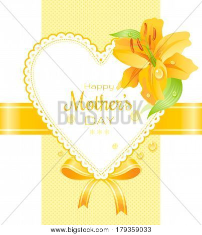 Garden yellow lily, dew drops flower holidays poster. Happy mothers day greeting card. Elegant design, yellow color background. Modern spring flowers vector illustration