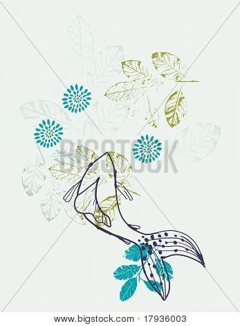 Vector floral graphic featuring a Koi fish
