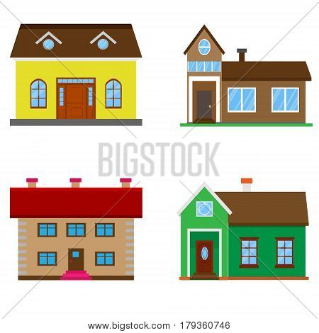 Set Different Color House Isolated. Vector Illustration