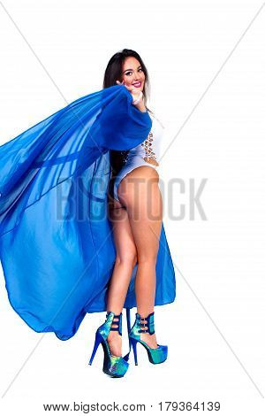 Pretty woman Dancer in blue bathrobe and red luxury lingerie.