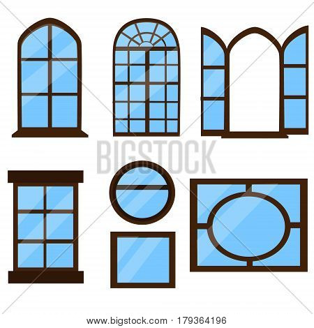 Collection of windows types. Small set of different windows
