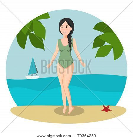 Pretty ig green swimsuit woman on beach