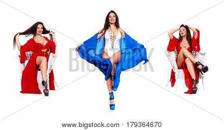 Pretty woman Dancer in blue bathrobe and red luxury lingerie. Isolated on white