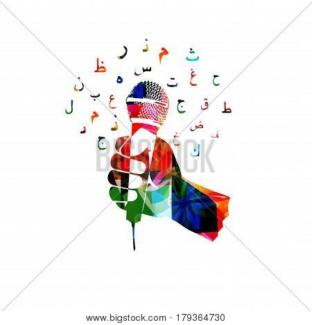 Colorful hand holding microphone with arabic islamic calligraphy symbols isolated vector illustration. Music background for poster, brochure, banner, flyer, concert, music festival, events