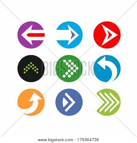 Set circle color Arrows in flat style for site. Vector isolated button with arrows on white background. Dynamic arrow symbol. Forward, back beginning, play, start.