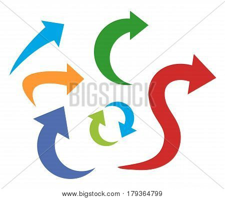 Set color Arrows and directions signs in flat style for business. Vector isolated red, green and blue arrows on white background. Dynamic arrow symbol. right turn, back, turn, Forward, backward.