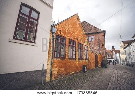 Old Orange Building On A City Street