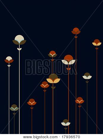 Vector graphic displaying a poetic colorful garden.