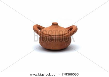 earthen pot brown isolated on white background