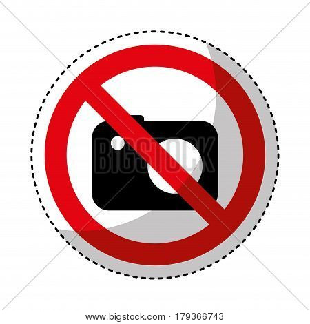 photographic camera with denied sign vector illustration design