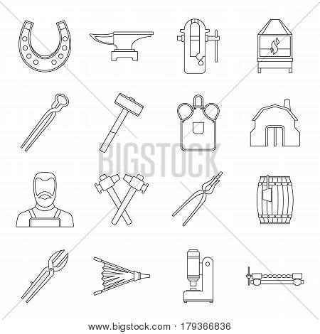 Blacksmith icons set. Outline illustration of 16 blacksmith vector icons for web