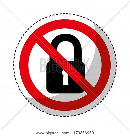 padlock with denied sign vector illustration design