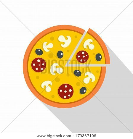 Pizza with mushrooms, salami and olives, lifted slice one icon. Flat illustration of pizza with mushrooms, salami and olives, vector icon for web isolated on white background