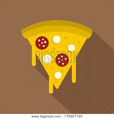 Tasty slice of pizza with salami and melted cheese icon. Flat illustration of tasty slice of pizza with salami and melted cheese vector icon for web isolated on coffee background