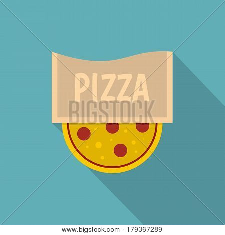 Pizza emblem for pizzeria icon. Flat illustration of pizza emblem for pizzeria vector icon for web isolated on baby blue background
