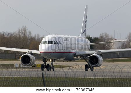 Borispol, Ukraine - March 25, 2017: Aegean Airlines Airbus A320-200 aircraft running on the runway of Borispol International Airport on March 25, 2017. Editorial use only
