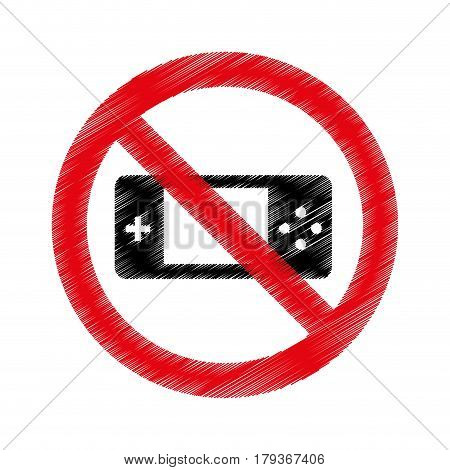 game control with denied sign vector illustration design