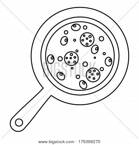 Pizza with salami and olives on round board icon. Outline illustration of pizza with salami and olives on round board vector icon for web