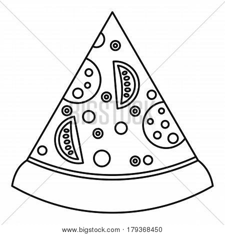 Slice of pizza with ingredients icon. Outline illustration of slice of pizza with ingredients vector icon for web
